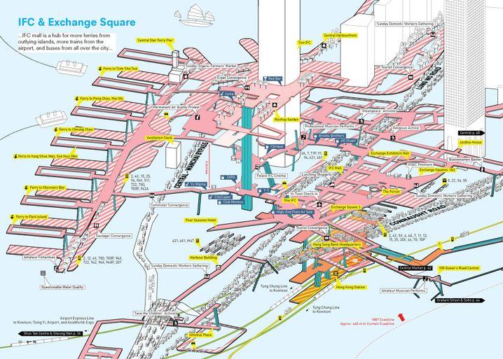 Architektenzeichnung von Hongkongs Brückennetz