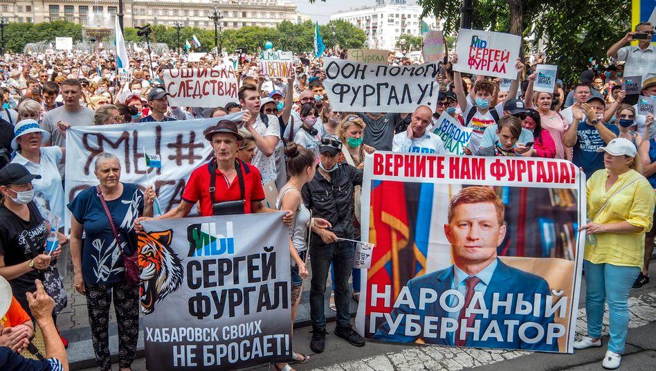 Seit Wochen protestieren Menschen im äußersten Osten Russlands gegen die Festnahme ihres Gouverneurs Furgal