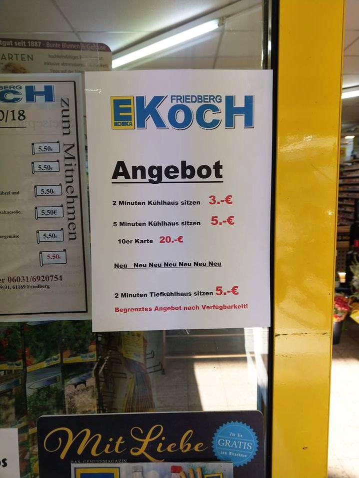 Aushang in Kochs Supermarkt