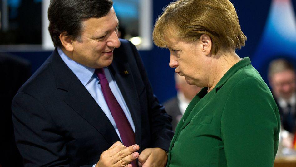 EU-Kommissionspräsident Barroso und Kanzlerin Merkel: Skepsis gegenüber Euro-Bonds