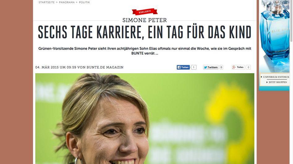 Screenshot des Interviews auf bunte.de: Ärger um die Überschrift