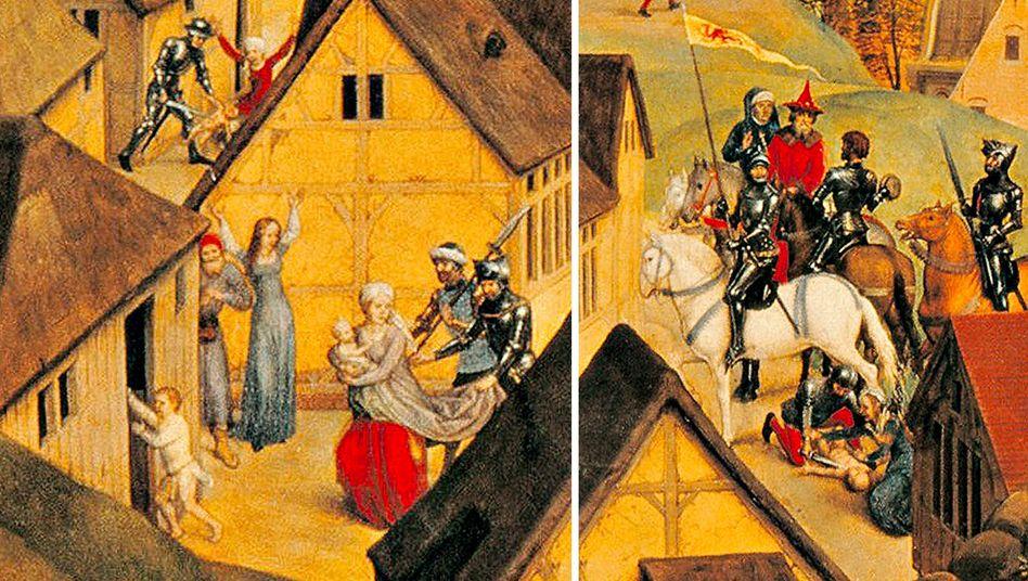 """Feindselig:1480 malte Hans Memling """"Die sieben Freuden Mariens"""" (hier Ausschnitte). Die Soldaten agieren darin so brutal, wie Memling es aus seiner Zeit kannte."""
