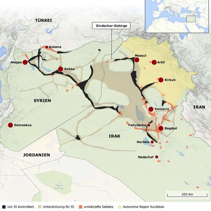 Herrschaftsgebiet des IS im Irak und in Syrien