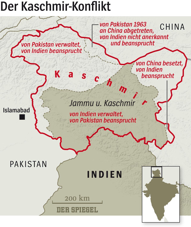 Grafik Karte DER SPIEGEL Kaschmir Konflikt - aufbereitet für SPIEGEL ONLINE