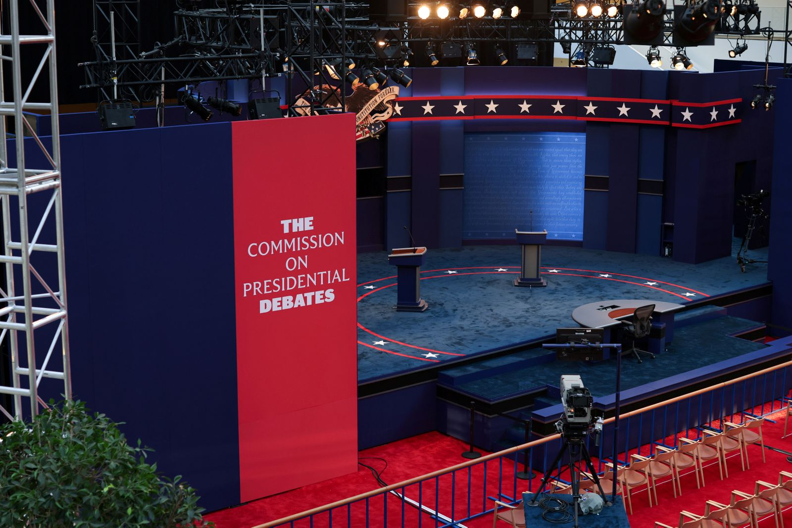FILE PHOTO: Workers prepare for the first presidential debate between U.S. President Trump and Democratic nominee Biden in Cleveland, Ohio