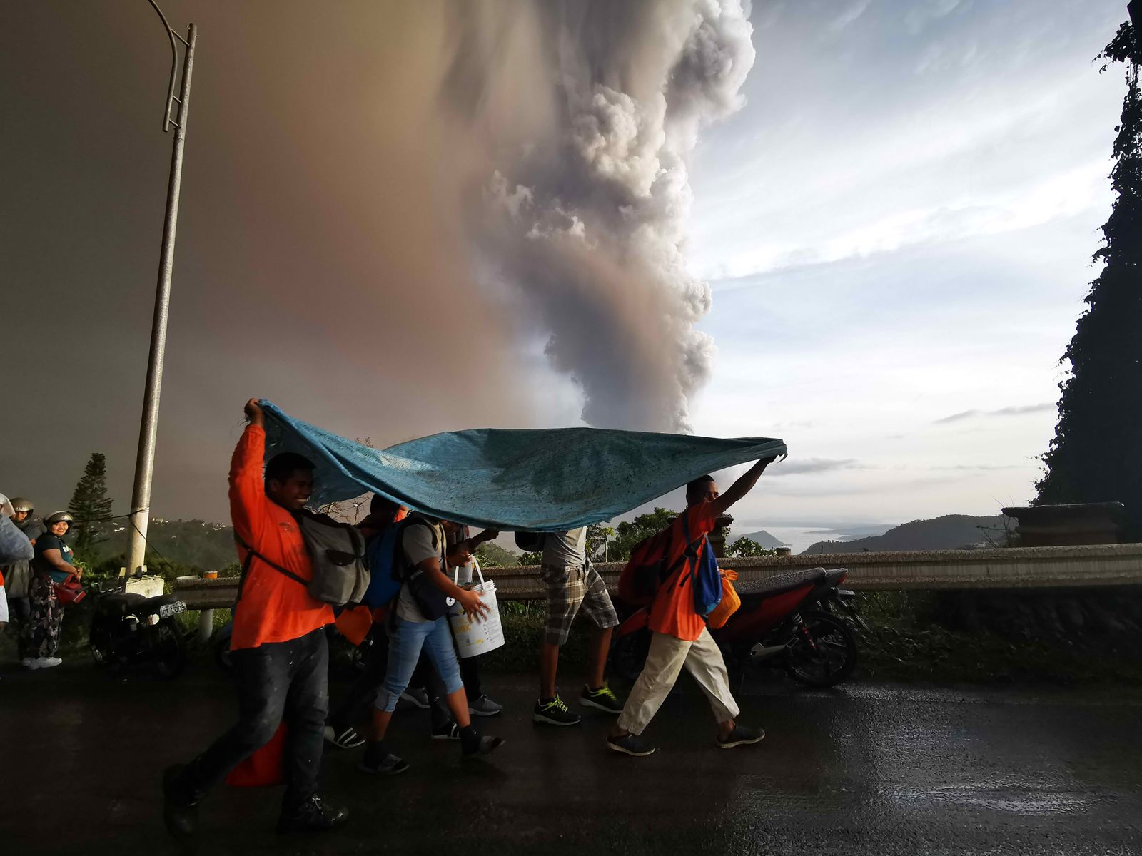 Evacuations underway as Taal Volcano spews giant ash column in the Philippines, Tagaytay City - 12 Jan 2020