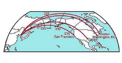 Flugbahnen ballistischer Interkontinental- Raketen von Nordkorea in Richtung USA. Die schwarzen Linien markieren den Einschlagsort, abhängig von der Zeit in Sekunden, die zwischen Start und Zerstörung durch eine Abfangrakete vergeht