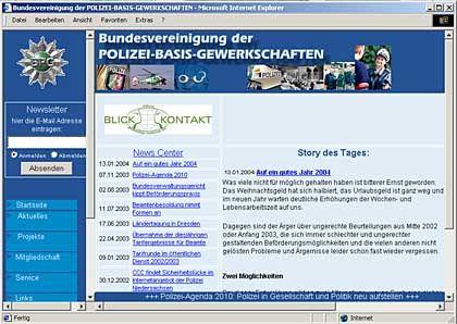 """Homepage der Polizei-Basis-Gewerkschaft mit Link zu Blickkontakt: """"Wir haben gründlich gelernt"""""""