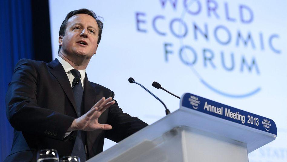 """Cameron in Davos: """"Großbritannien wird dem Euro nie beitreten"""""""