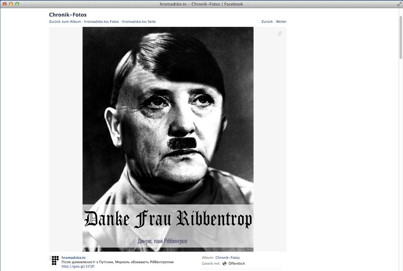 EINMALIGE VERWENDUNG SCREENSHOT / Facebook/Spam/Merkel/Ribbentrop/Ukraine