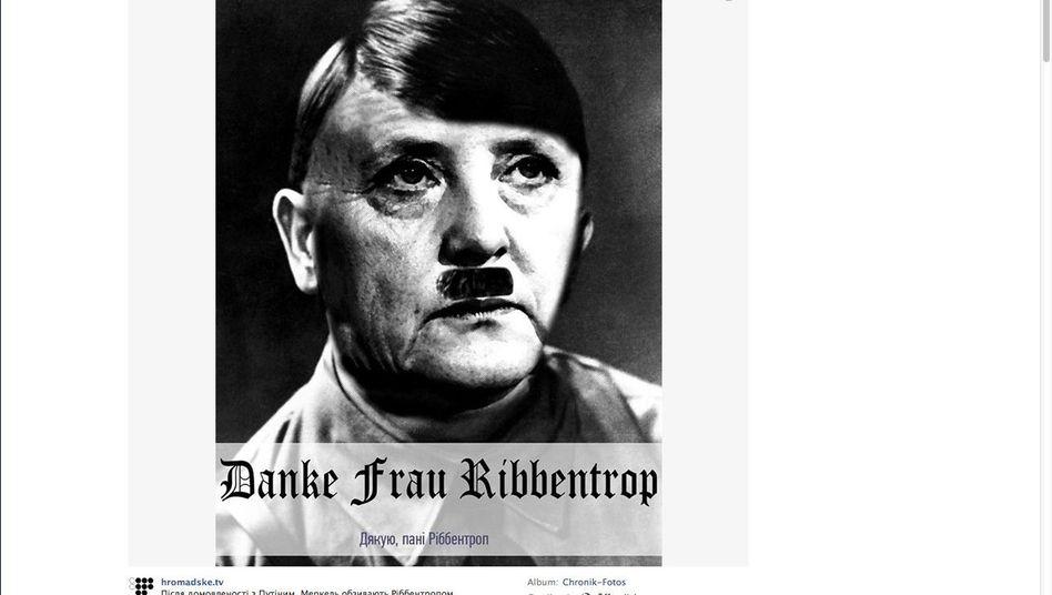 Facebook-Seite des ukrainischen Internetsenders Hromadske-TV: Angela Merkel als Hitler