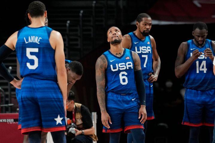 Ungewohntes Bild: Die US-Basketballer verließen die Halle zum Auftakt als Verlierer