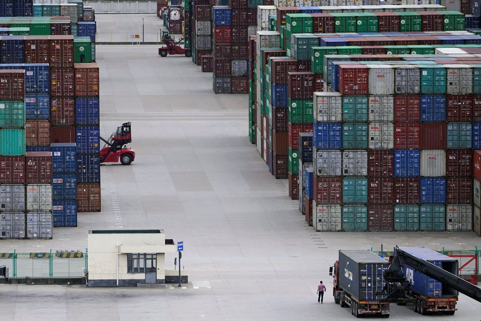 Containers are seen at the Yangshan Deep-Water Port in Shanghai