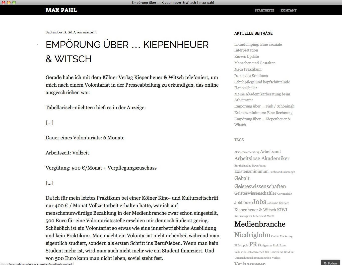 EINMALIGE VERWENDUNG Max Pahl/ Empörung über Kiepenheuer & Witsch