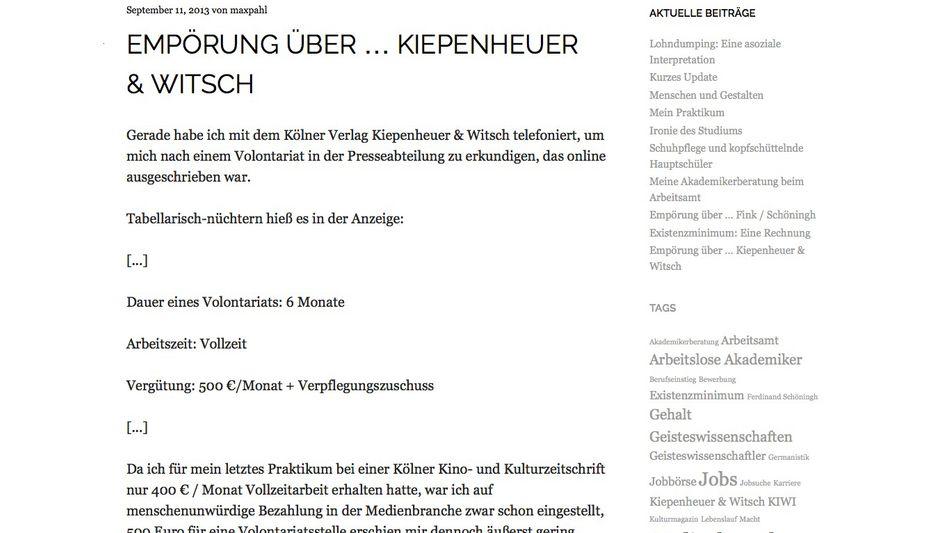 Internetseite maxpahl.wordpress.com: Heftige Kritik aus dem Netz