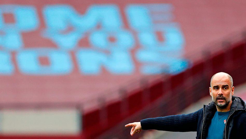 Pep Guardiola zeigte sich an der Seitenlinie gegen West Ham frustriert