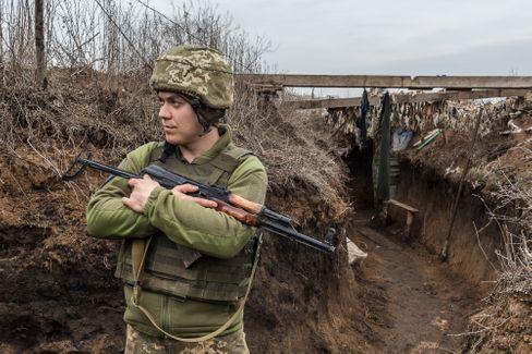 Ukrainischer Frontsoldat bei Tschermalyk