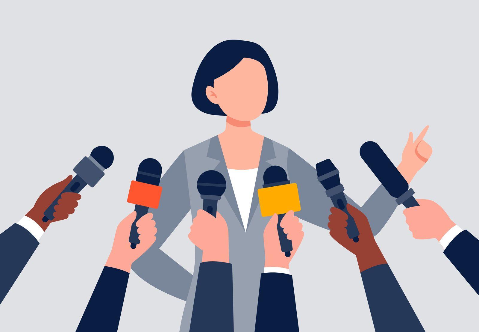 A woman giving an interview.