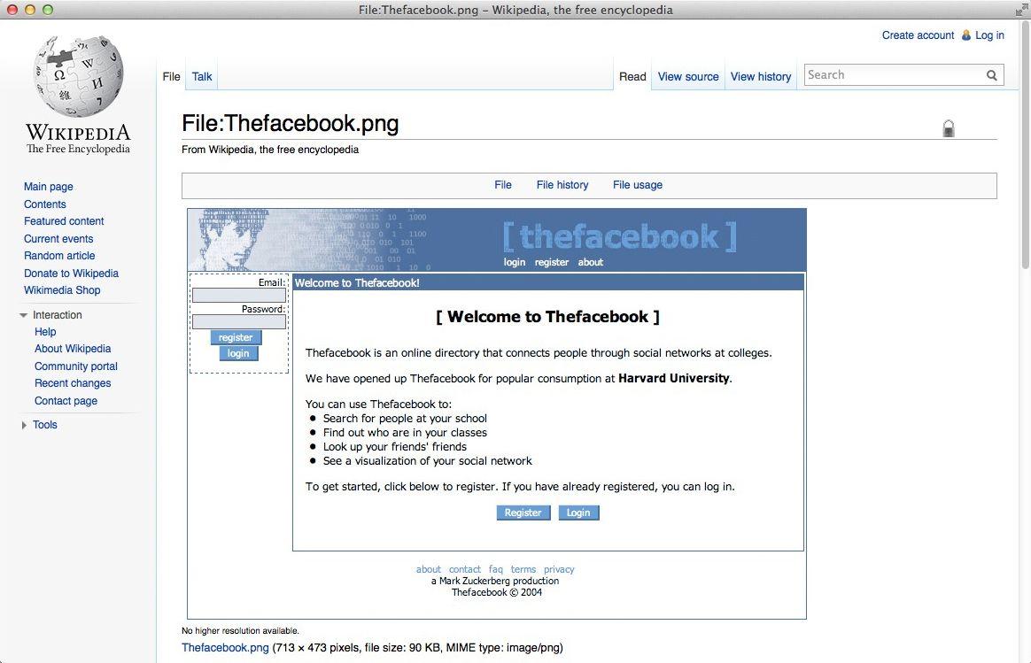 NUR ALS ZITAT Screenshot Wikipedia/ TheFacebook
