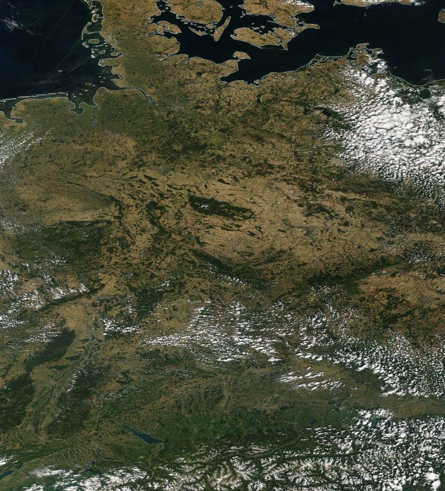 Hitze in Deutschland - Satellitenbild
