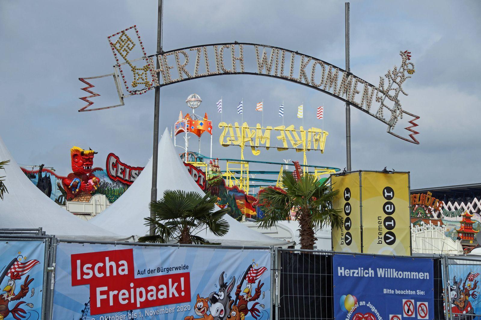 Freipark statt Freimarkt: Der 985. Bremer Freimarkt ist am Freitag, dem 2. Oktober 2020, auf der Bürgerweide eröffnet wo