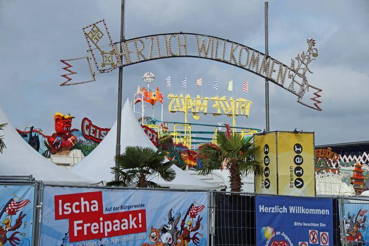 """Auch der """"Freipark"""" - die deutlich abgespeckte Ersatzveranstaltung für das Bremer Volksfest Freimarkt - muss sofort unterbrochen werden"""