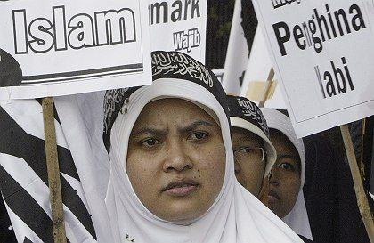 Protesters took to the streets again on Wednesday to protest the reprinting of Muhammad cartoons.