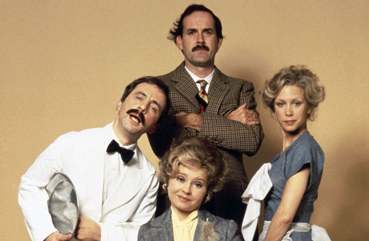 """""""Fawlty-Towers""""-Darsteller Andrew Sachs, John Cleese, Prunella Scales und Connie Booth (v.l.n.r.)"""