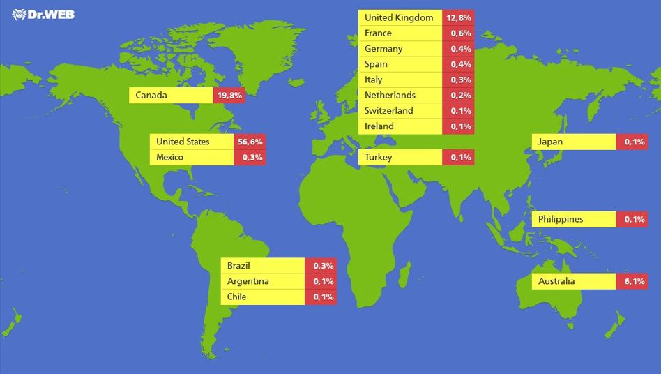 Verteilung befallener Rechner: USA, Kanada und Großbritannien am stärksten betroffen