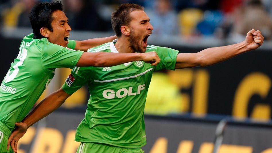 Wolfsburg-Stürmer Dost (r.): Doppeltorschütze in Düsseldorf