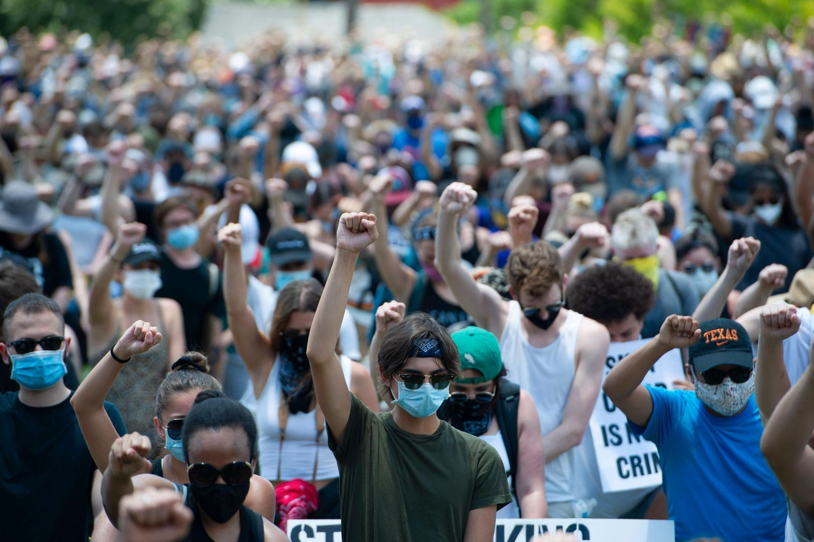 June 07, 2020: Protesters attend the Black Austin Rally and march for Black Lives at Houston Tillotson University. Aust