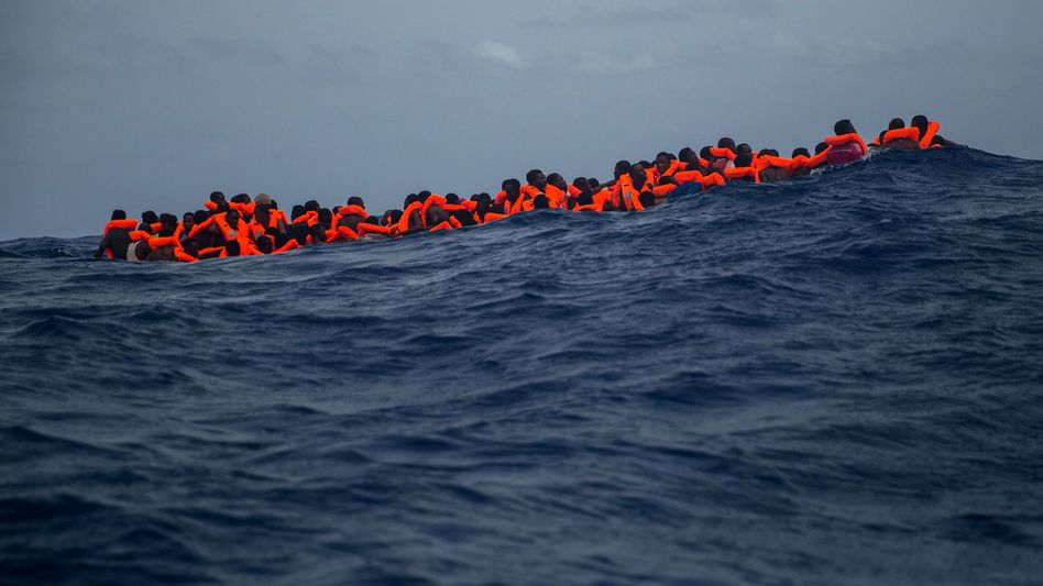 Refugees attempting the Mediterranean crossing