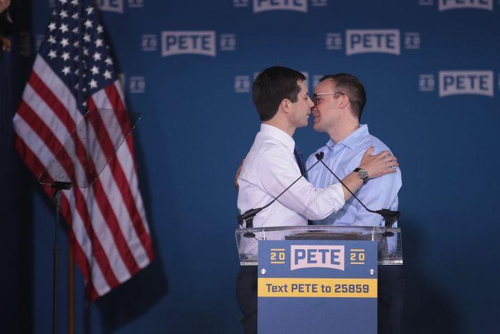 Pete Buttigieg (l.) mit Chasten Glezman: Die beiden sind seit 2018 verheiratet