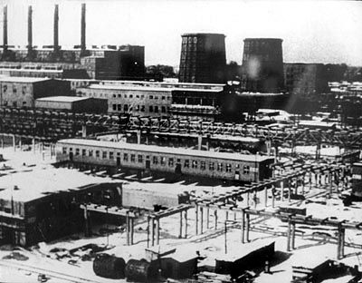 The IG Farben factory at Auschwitz. The company used slave laborers to manufacture the poison used to gas Jews.