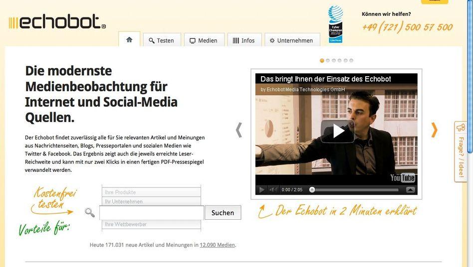 Echobot (Screenshot): Suchmaschine oder Artikelklaudienst?