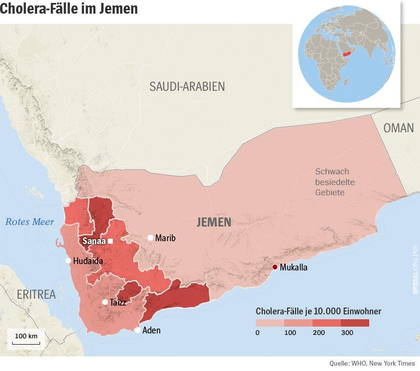 Karte Jemen Cholera-Fälle