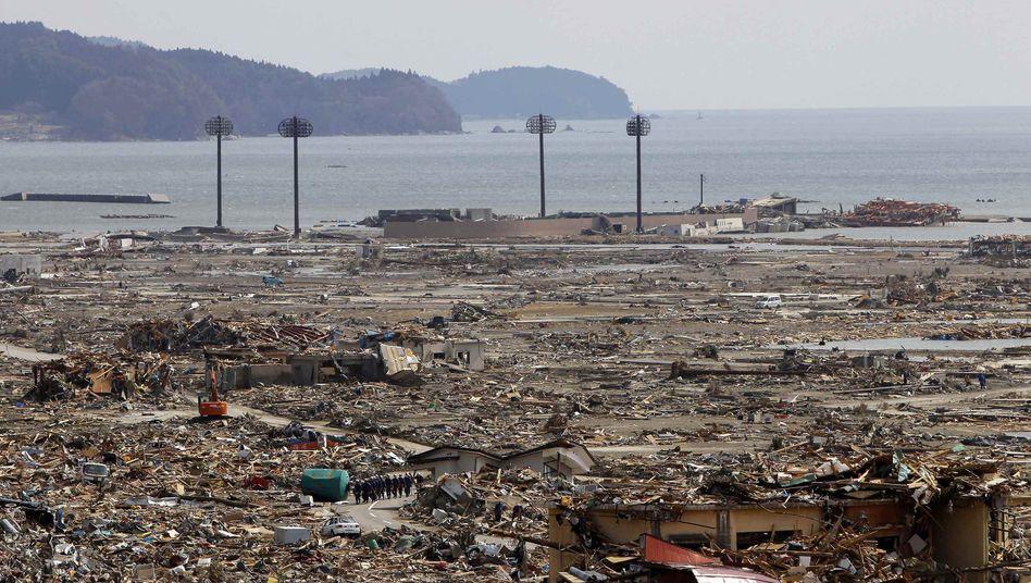 """Zerstörtes Gelände nahe der japanischen Stadt Otsuchi: """"Mir egal, ob ich sterbe"""""""