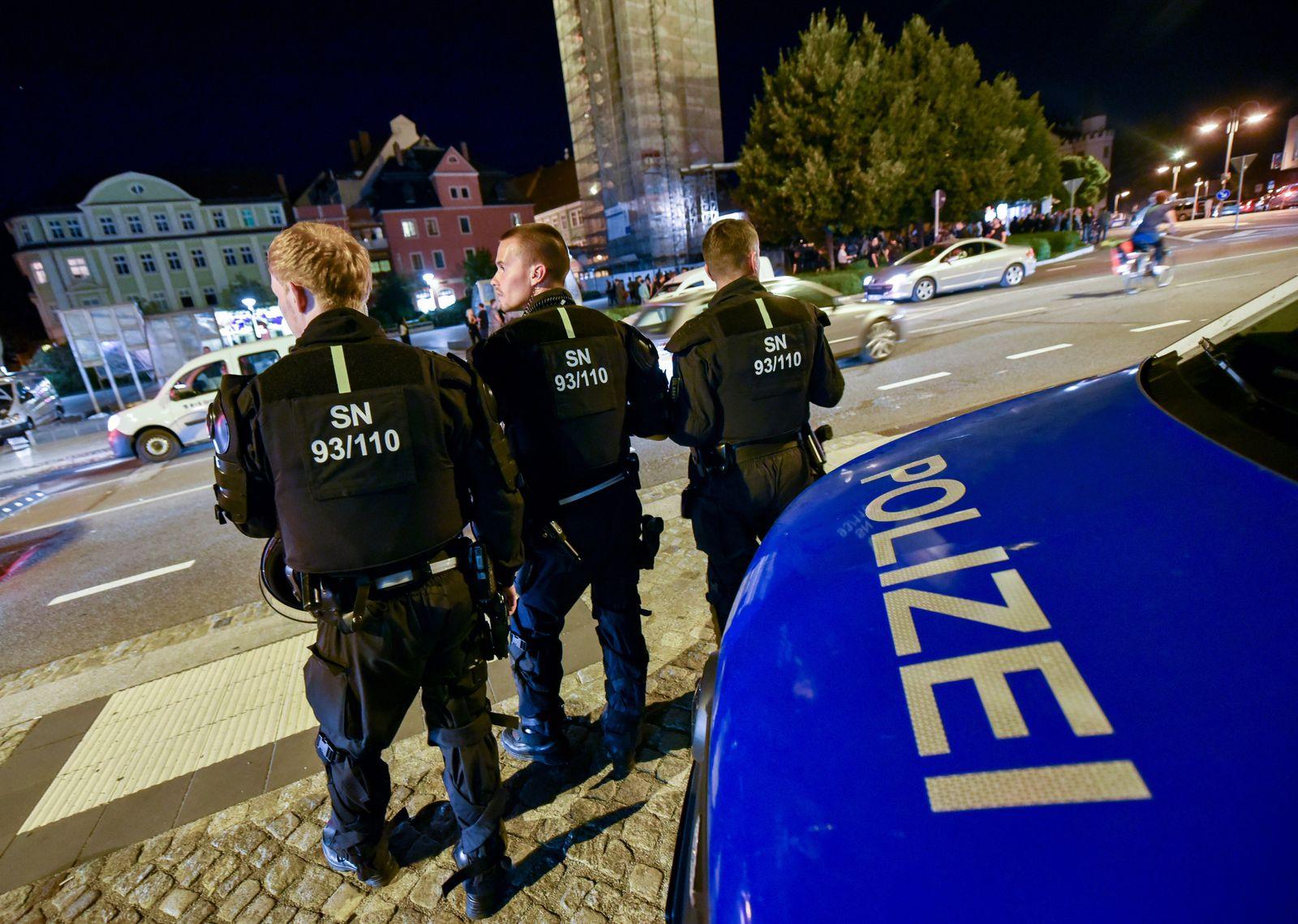 Massive Polizeipräsenz in Bautzen