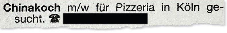 Stellenanzeige aus dem »Kölner Wochenspiegel«
