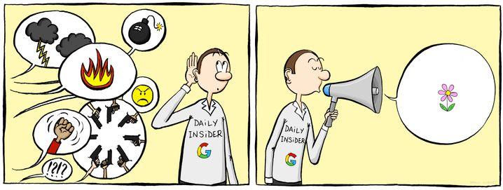 Alles prima bei Google? Der Entwickler Cornet hört das Rumoren im Innern des Konzerns und zeichnet es auf