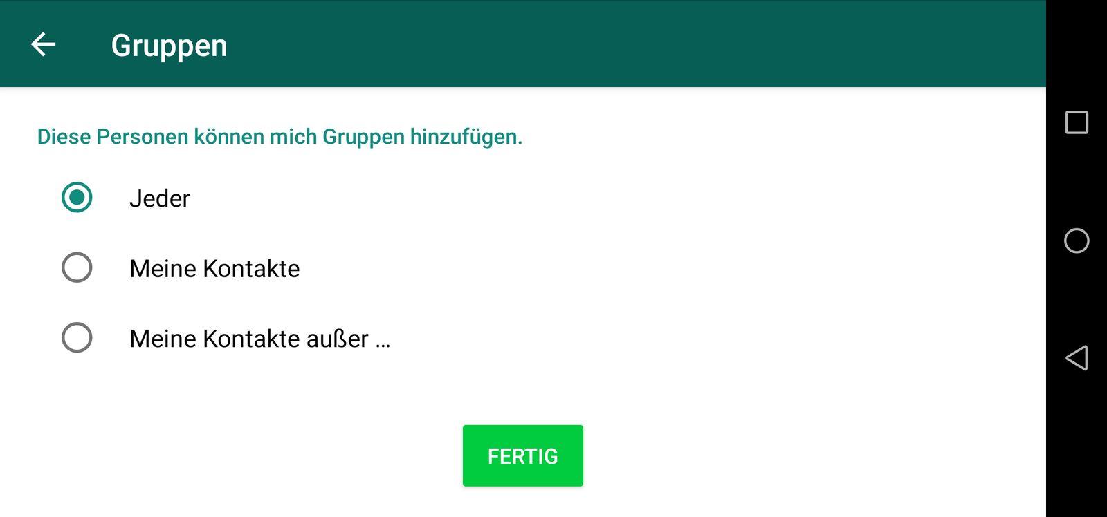EINMALIGE VERWENDUNG Whatsapp screenshot