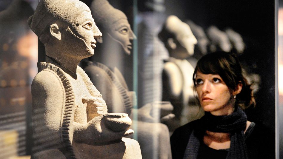 Basalt statues from Syria on display at the Württemburg State Museum: Art from the exhibit is in the middle of a court case over terror compensation.