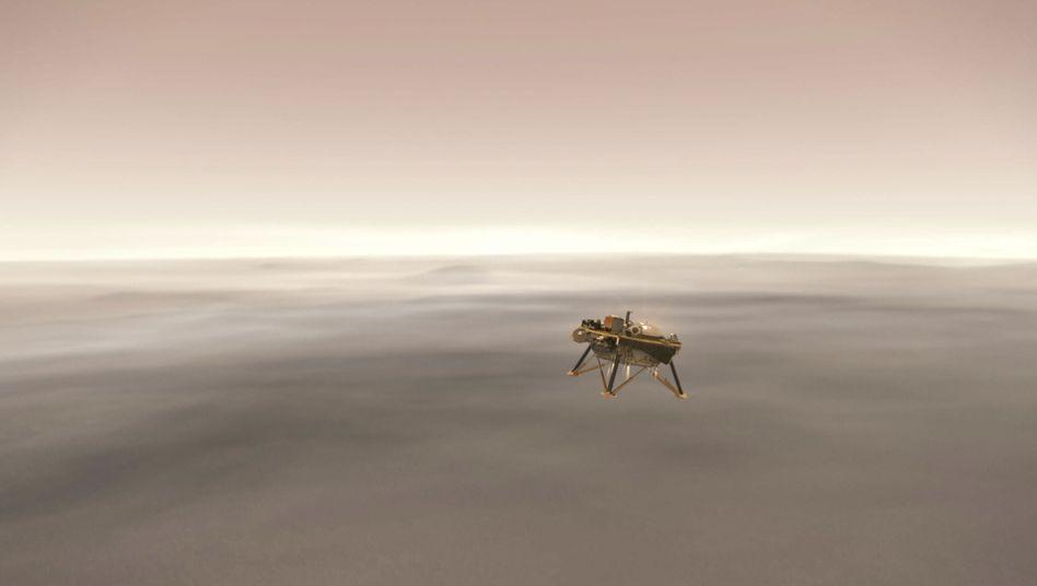 """""""Insight"""" im Anflug auf den Mars (künstlerische Darstellung)"""