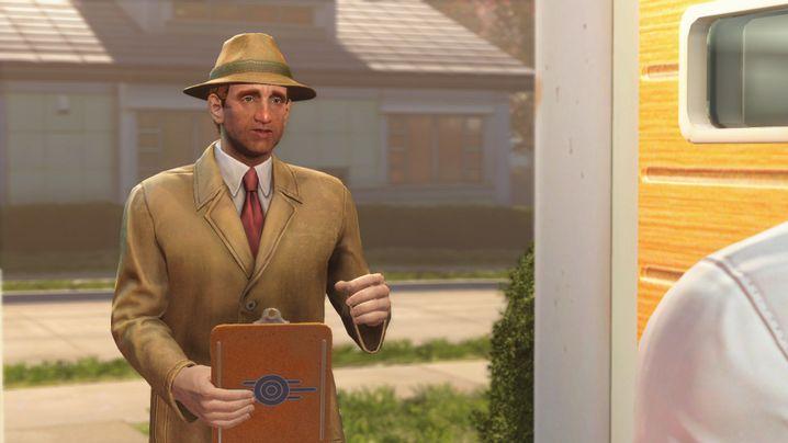 """Die """"Fallout""""-Welt vor der Apokalypse, mit einem Vertreter an der Tür: Laut Todd Howard spielt dieser Spielteil in einer Wohnsiedlung"""