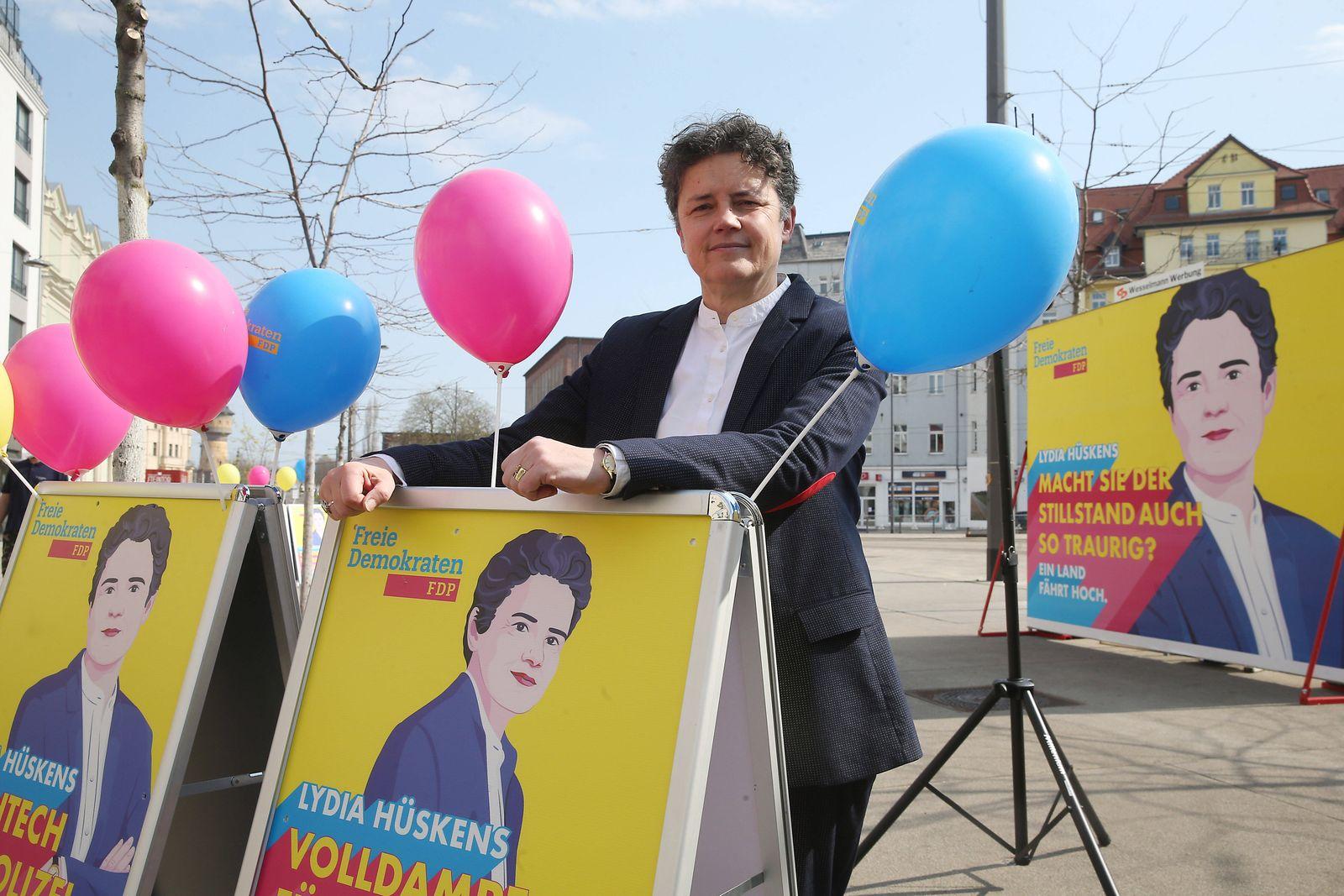 20.04..2021 // Sachsen Anhalt / Sachsen-Anhalt / Halle Saale Beginn Wahlkampf Land Sachsen-Anhalt Landtagswahl Foto : Ly