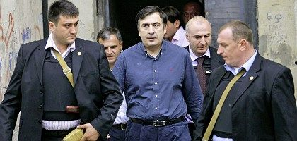 Georgia's President Mikhail Saakashvili visits Gori last week.