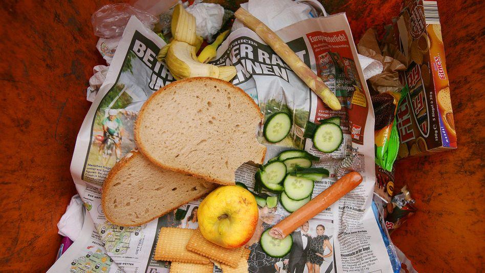Lebensmittel in einer Mülltonne: 61 Prozent der Abfälle aus Privathaushalten