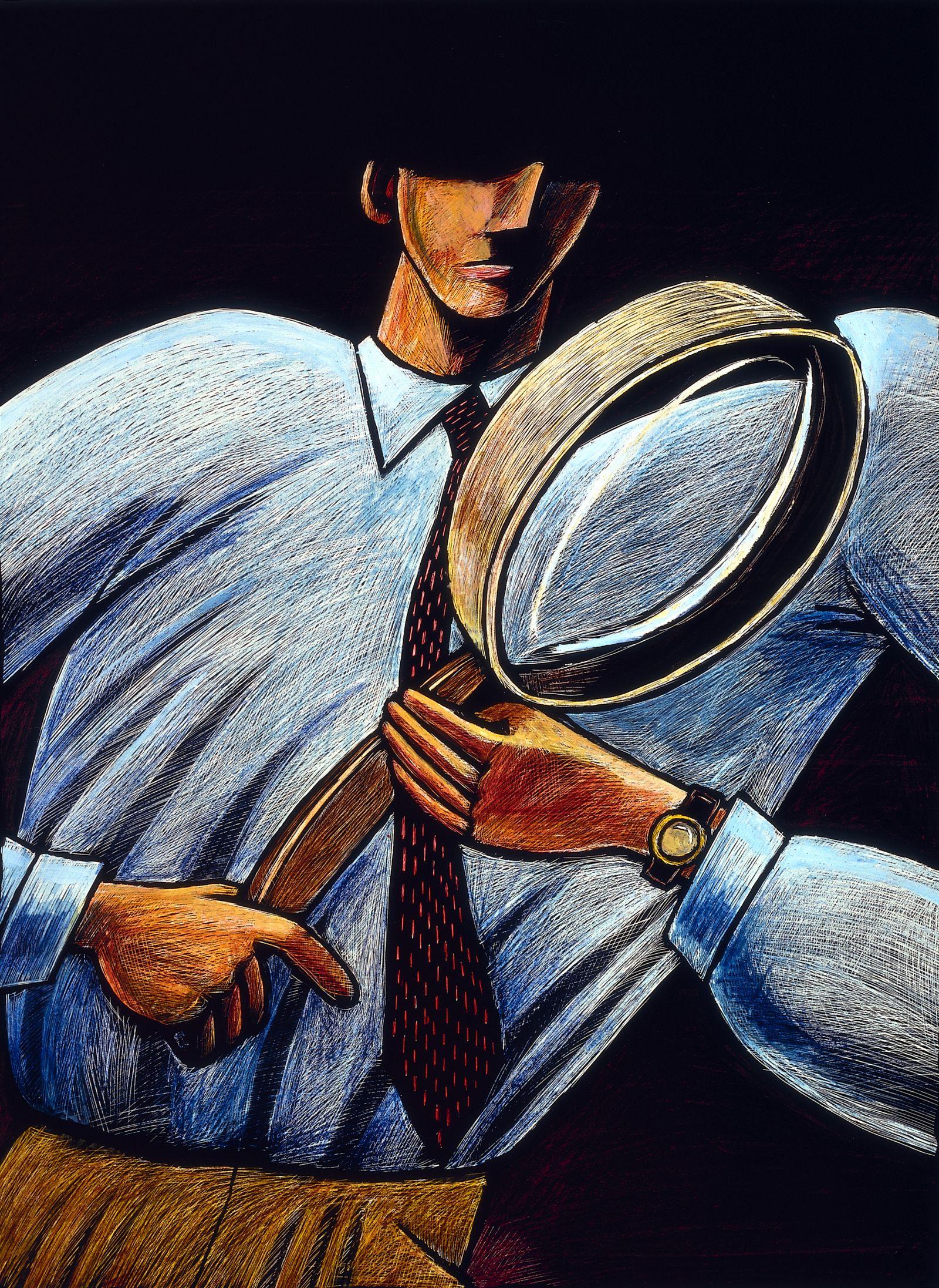 NICHT MEHR VERWENDEN! - Symbolbild Plagiatsjäger / Detektiv / Lupe