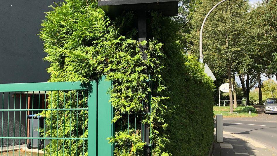 Selbstgebaute Blitzer-Attrappe in einem Vorgarten
