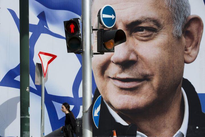 Wahlplakat für Benjamin Netanyahu